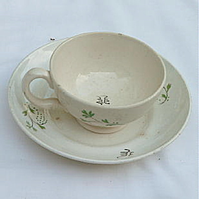 Childs Porcelain Cup Saucer early 1800's (Image1)