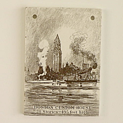 1915 Wedgwood Calendar Tile Boston Custom House #2 (Image1)