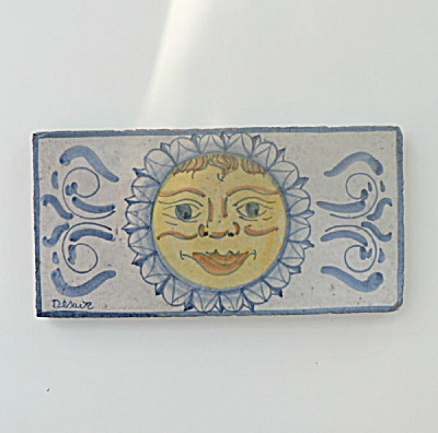 Hand Painted Italian Tile Sun Face (Image1)