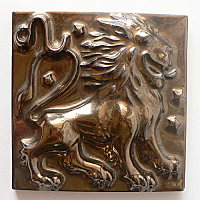 Don Schreckengost Zodiac Tile - Black Gold Leo the Lion (Image1)