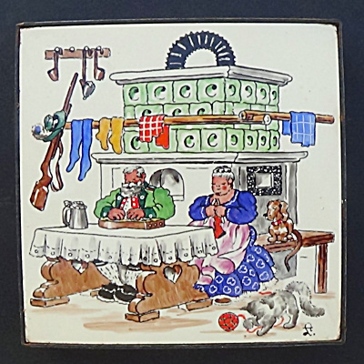 Annelore Luest Tile Trivet Couple at Old Tiled Stove (Image1)