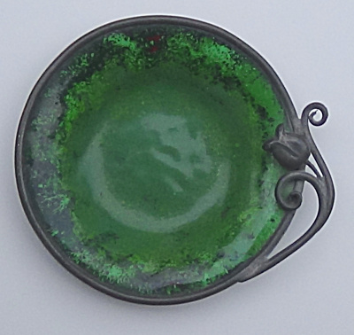 Nekrassoff Small Green Dish W/ Pewter Rose Accent