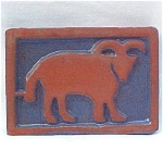 Click to view larger image of Moravian Pottery  Aries Zodiac Tile circa 1920 (Image1)