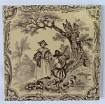 Click to view larger image of Watteau Subjects Antique Tile - Man Woman and Dog (Image1)