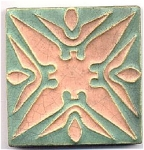 Click here to enlarge image and see more about item 1105: Wheatley Pottery salmon/green tile ca 1910