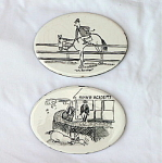 Vintage Whimsical Wheeling Tiles with Horses