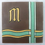 Architectural Tile with Initial M - Brown Background