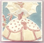 Click here to enlarge image and see more about item T1089: Rookwood Tile - Woman with Parasol
