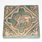 Click to view larger image of Aries Zodiac Tile - Vintage Moravian Pottery (Image1)