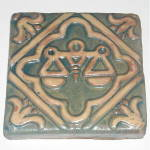 Click to view larger image of Libra Zodiac Tile (Green) - Vintage Moravian Pottery (Image1)