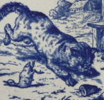 Click to view larger image of Cat Pouncing on Duck - Victorian series tile (Image2)