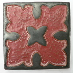 Click to view larger image of Gun Metal Black and Cranberry Tile (Image1)