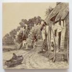 Click to view larger image of Antique Mintons Scenic Tile Man in Boat (Image1)