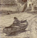 Click to view larger image of Antique Mintons Scenic Tile Man in Boat (Image4)
