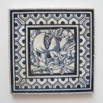 Click here to enlarge image and see more about item 2028: Antique Blue & White Tile of a Pomegranate