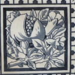 Click to view larger image of Antique Blue & White Tile of a Pomegranate (Image2)