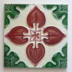 Click here to enlarge image and see more about item 2030: Antique Tile Red & Green Floral #1