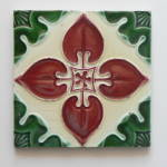 Click here to enlarge image and see more about item 2031: Antique Tile Red & Green Floral #2