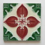 Click here to enlarge image and see more about item 3255: Antique Tile Red & Green Floral #3