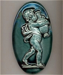 Click here to enlarge image and see more about item 209211: Antique Stove Tile - putti and pottery