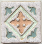 Click here to enlarge image and see more about item 1107: Wheatley faience carved multicolor tile