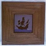 Click to view larger image of Franklin Tile Co. Framed Ship Tile - Rare Purple Glaze (Image1)
