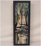Tube lined sailing ship panel - signed