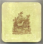 Antique Belgian lusterware tile/trivet with goat scene
