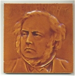 Rare Antique English Portrait Tile of John Bright