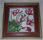 Click here to enlarge image and see more about item T1066: Framed Tile with Cyclamens