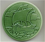 Click to view larger image of Round Galleon / Sailing Ship Tile Majolica Glaze (Image1)