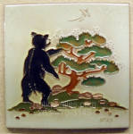 Click to view larger image of Daniel Nash Tile of A Bear Standing at a Juniper Tree (Image1)