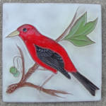 Click here to enlarge image and see more about item 3123: Scarlet Tanager 4 inch Mckusick Tile