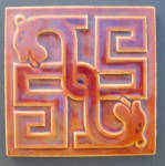Click here to enlarge image and see more about item 3318: Maw Geometric Tile  with Opposing Dogs Heads
