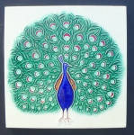 Click here to enlarge image and see more about item 3319: 6 inch Peacock Tile - Marked, Made in Japan