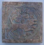 Click here to enlarge image and see more about item 519: Batchelder Tile of a Dog
