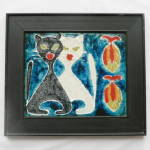 Click to view larger image of Danish Modern Tile - Two Cats and Fish (Image1)