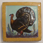 Click here to enlarge image and see more about item gap0006: 4 Inch Franklin Pottery Turkey Tile  Circa 1930