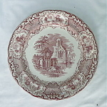 Abbey Red and White Transferware Plate