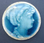 Click here to enlarge image and see more about item small024: 2 Inch Blue Stove Tile Woman Facing Right