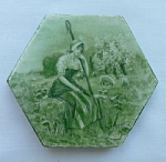 Click here to enlarge image and see more about item small002: Exquisite Hand Painted Antique Tile by Trent