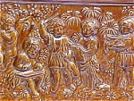 Click here to enlarge image and see more about item T-1505: Antique German Stove Tile Panel with Musical Cherubs