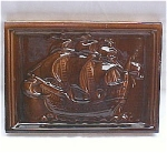 Click here to enlarge image and see more about item T-1506: Antique Stove Tile  - Sailing Ship with Majolica Glaze