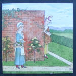 Click here to enlarge image and see more about item T-1950A: Hand Painted Minton Tile - Woman Picking Roses Garden