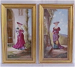 Click here to enlarge image and see more about item T1070: Hand Painted Antique Porcelain Plaques
