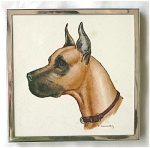 Click here to enlarge image and see more about item T1145: Vintage Hand Painted Great Dane Tile