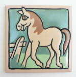 Click to view larger image of Vintage Whimsical Horse Tile by Mosaic Tile Company (Image4)