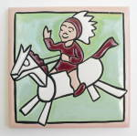 Click to view larger image of Vintage Rocking Horse & Boy Tile by Mosaic Tile Company (Image4)
