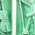 Click to view larger image of Cupids Playing Cello & Harp – Antique Tile Pair  (Image5)