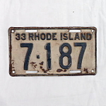 Click here to enlarge image and see more about item T1196: 1933 Rhode Island License Plate #7187
